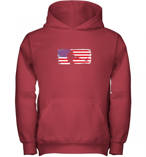 s6qo usa american flag baseball player perfect gift youth hoodie 43 front red