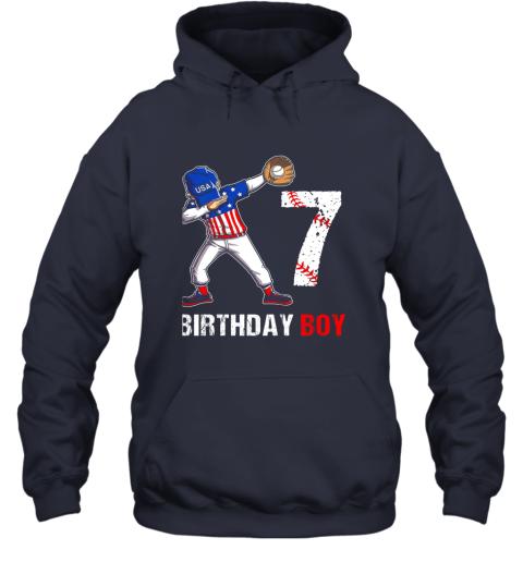 dpjk kids 7 years old 7th birthday baseball dabbing shirt gift party hoodie 23 front navy