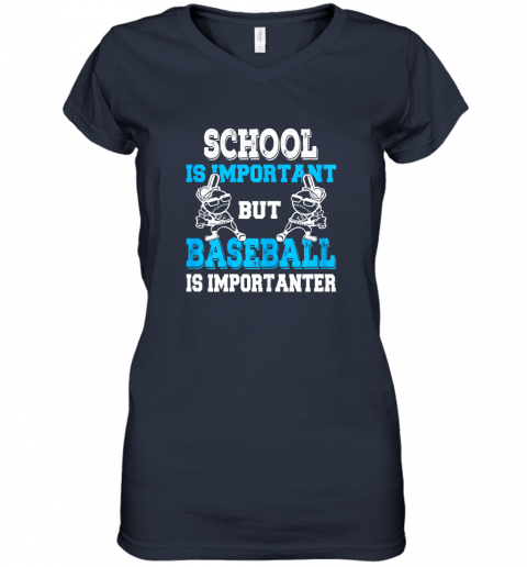 wrim school is important but baseball is importanter boys women v neck t shirt 39 front navy