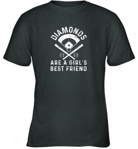 z1bo diamonds are a girl39 s best friend baseball youth t shirt 26 front dark heather