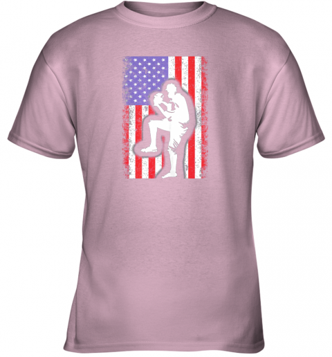 26y5 vintage usa american flag baseball player team gift youth t shirt 26 front light pink