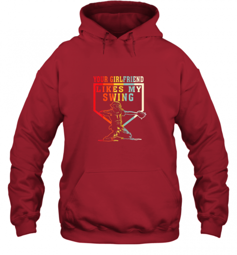 xe2m baseball your girlfriend likes my swing gift hoodie 23 front red