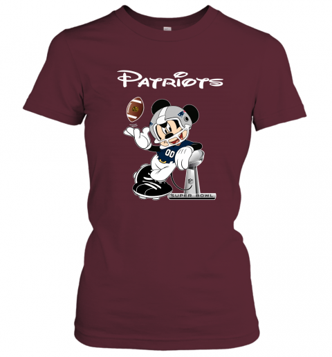 txtn mickey patriots taking the super bowl trophy football ladies t shirt 20 front maroon