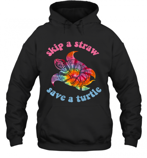 Skip A Straw Save A Turtle Tribal Retro 90's Aesthetic Long Sleeve Hoodie
