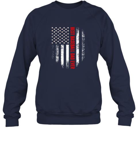 jjff vintage usa best baseball dad ever american flag daddy gift sweatshirt 35 front navy