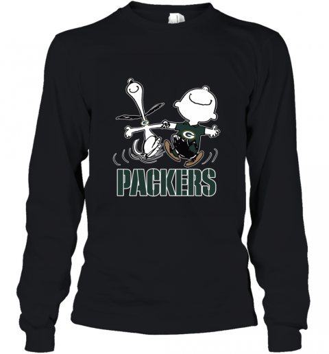 Snoopy And Charlie Brown Happy Green Bay Packers Youth Long Sleeve