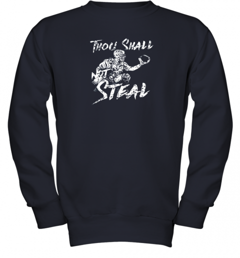 un0w thou shall not steal baseball catcher youth sweatshirt 47 front navy