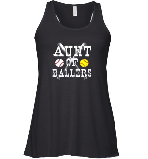 Vintage Aunt of Ballers Shirt Funny Baseball Softball Love Racerback Tank