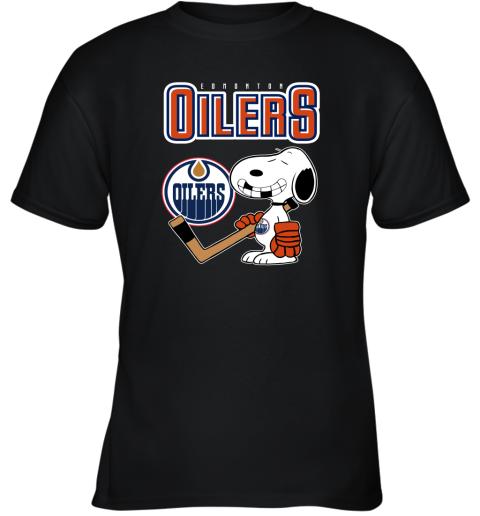qyzy edmonton oilers ice hockey broken teeth snoopy nhl shirt youth t shirt 26 front black