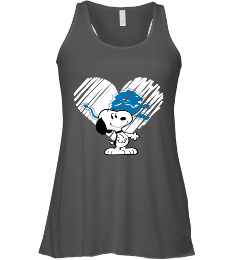 nznt i love snoopy detroit lions in my heart nfl flowy tank 32 front dark grey heather