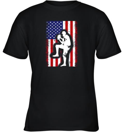 Vintage USA American Flag Baseball Player Team Gift Youth T-Shirt