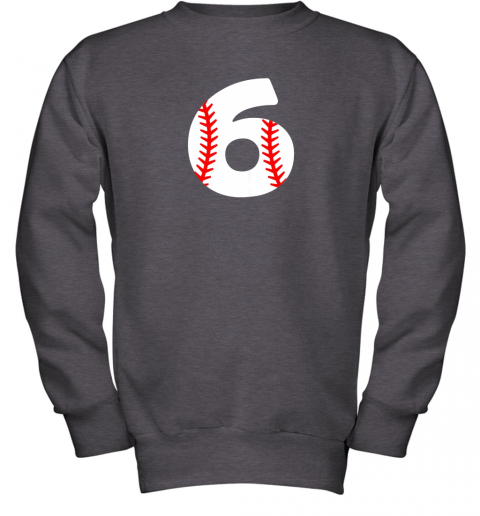mrhd sixth birthday 6th baseball shirtnumber 6 born in 2013 youth sweatshirt 47 front dark heather
