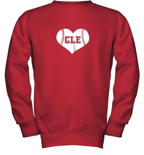 9iz4 cleveland ohio baseball love heart cle gift jersey fan youth sweatshirt 47 front red