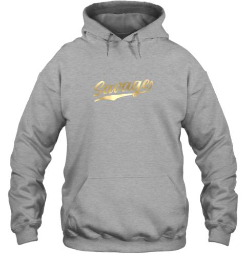 zkkx savage shirt retro 1970s baseball script font hoodie 23 front sport grey