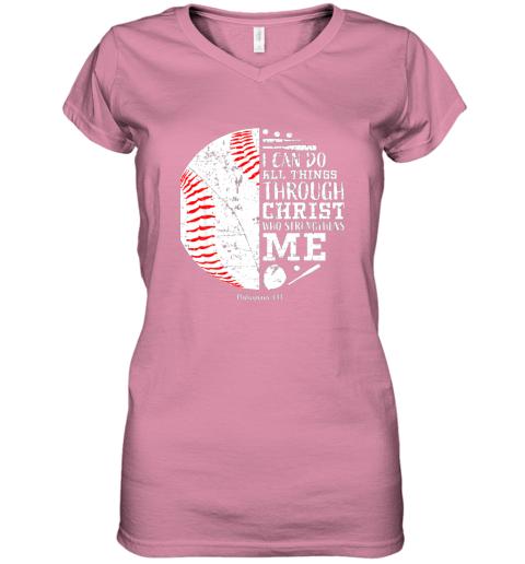 seqx christian baseball shirts i can do all things through christ women v neck t shirt 39 front azalea