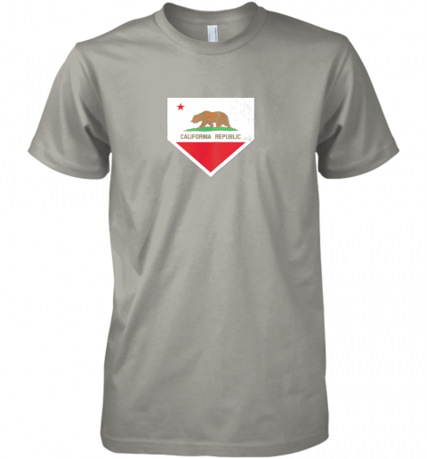 irmy vintage baseball home plate with california state flag premium guys tee 5 front light grey