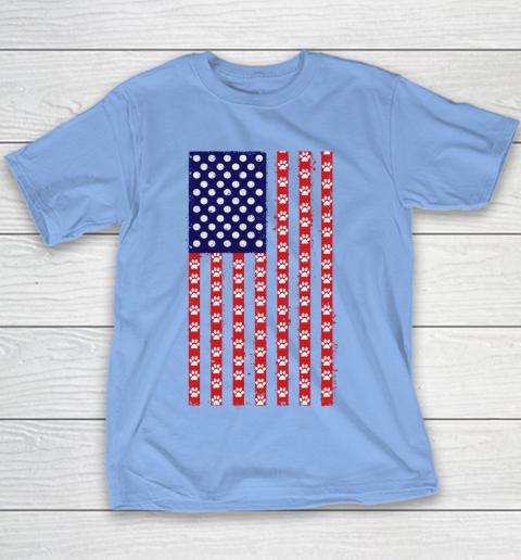 Handball Dog Lover American Flag Youth T-Shirt 8