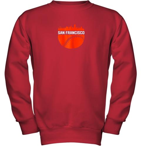 x0kx vintage downtown san francisco cali skyline baseball youth sweatshirt 47 front red