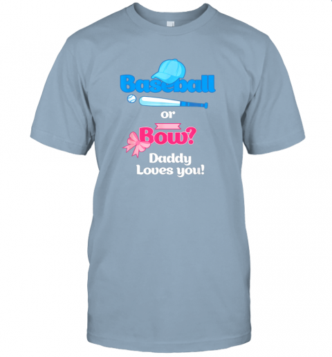 n47h mens baseball or bows gender reveal party shirt daddy loves you jersey t shirt 60 front light blue