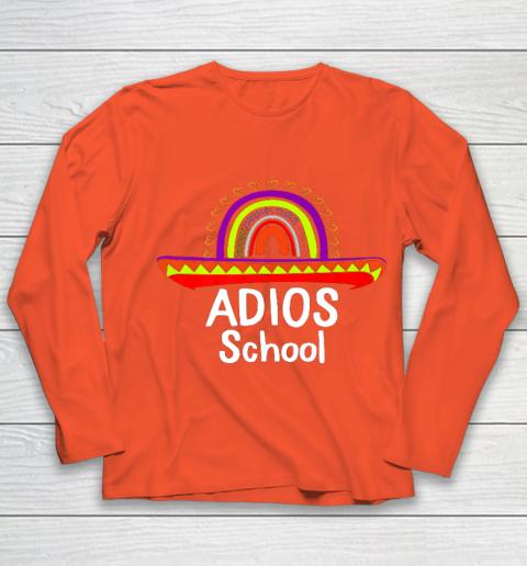 Adios School Happy Last Day Of School 2021 Teacher Mexican Youth Long Sleeve 3