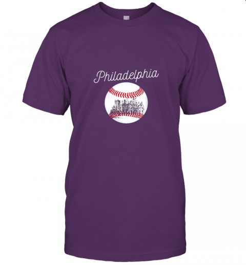 yc2t philadelphia baseball philly tshirt ball and skyline design jersey t shirt 60 front team purple
