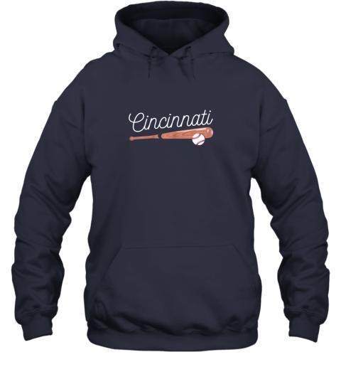 trwh cincinnati baseball tshirt classic ball and bat design hoodie 23 front navy