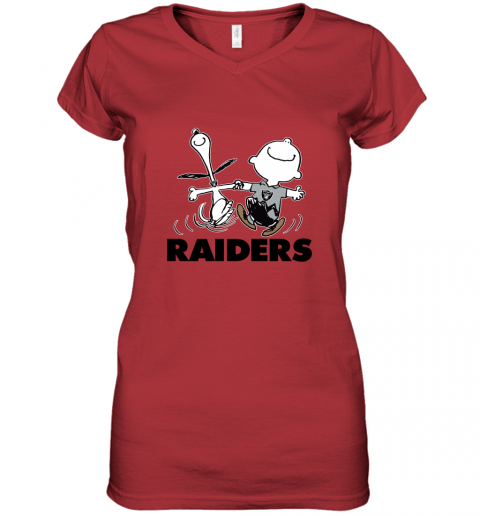 Snoopy And Charlie Brown Happy Oakland Raiders Fans Women's V-Neck T-Shirt