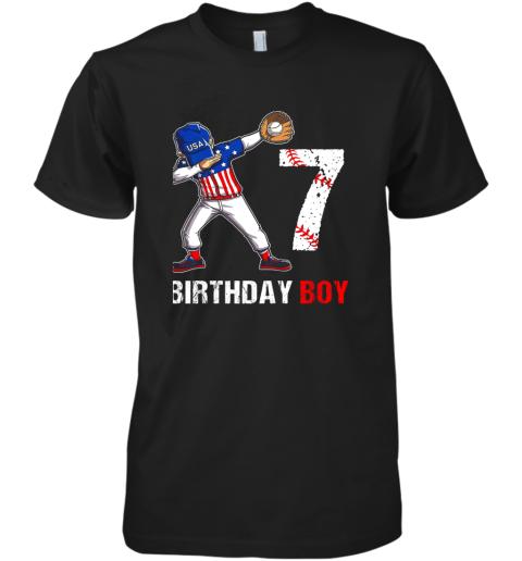 Kids 7 Years Old 7th Birthday Baseball Dabbing Shirt Gift Party Premium Men's T-Shirt