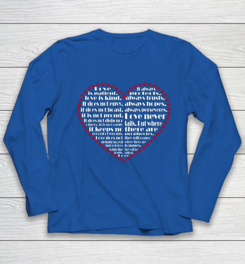 Love is patient love is kind Valentine Hearts Valentines day Youth Long Sleeve 7
