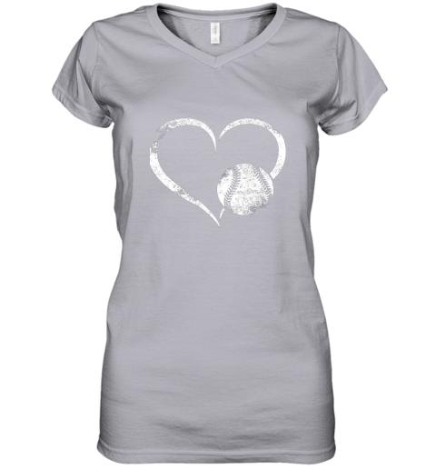 x7oe i love baseballl funny baseball lover heartbeat women v neck t shirt 39 front sport grey