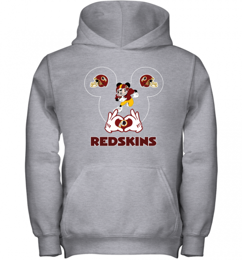 wcro i love the redskins mickey mouse washington redskins youth hoodie 43 front sport grey