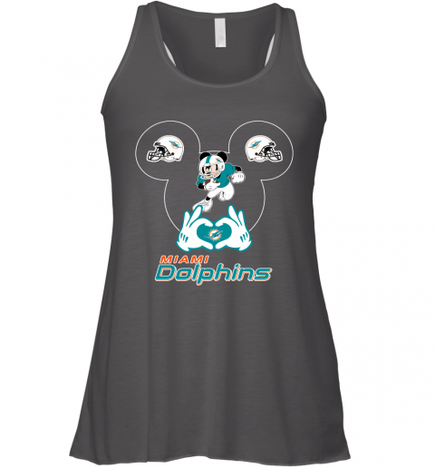 a2sk i love the dolphins mickey mouse miami dolphins flowy tank 32 front dark grey heather