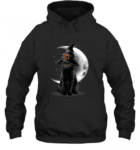 Vintage Scary Black Cat Halloween Witch Hat & Moon Hoodie