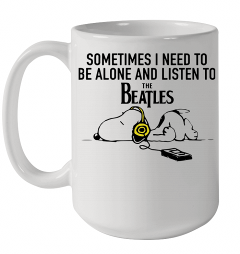 Snoopy Under Autumn Tree Sometimes I Need To Be Alone And Listen To The Beatles Ceramic Mug 15oz