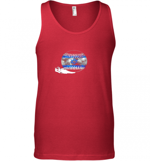 vlyn vintage baseball israel flag shirt israelis pride unisex tank 17 front red
