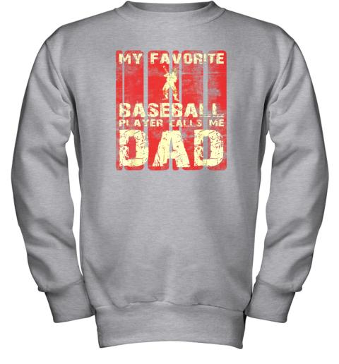 vnqf mens my favorite baseball player calls me dad retro gift youth sweatshirt 47 front sport grey