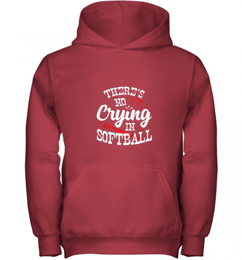 3lbt theres no crying in softball game sports baseball lover youth hoodie 43 front red