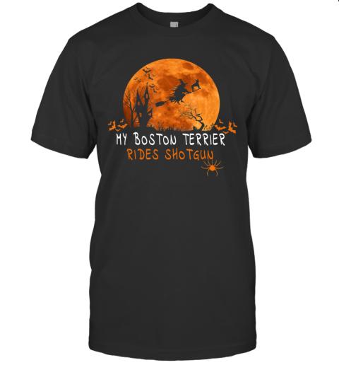 Halloween Boston Terrier T Shirts Costume Rides Shotgun Gift T-Shirt