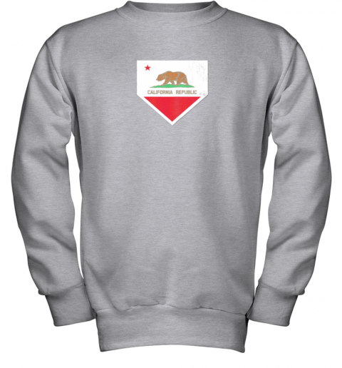 yykv vintage baseball home plate with california state flag youth sweatshirt 47 front sport grey