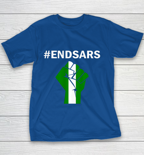 EndSARS End SARS Nigeria Flag Colors Strong Fist Protest Youth T-Shirt 6