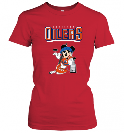 swbv mickey edmonton oilers with the stanley cup hockey nhl shirt ladies t shirt 20 front red