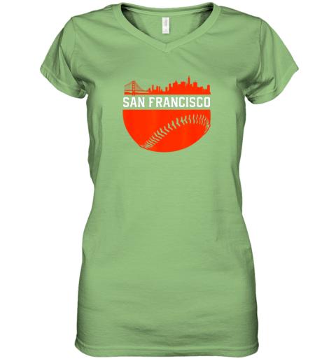 dgjs san francisco baseball vintage sf the city skyline gift women v neck t shirt 39 front lime