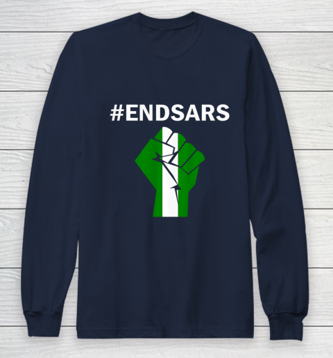 EndSARS End SARS Nigeria Flag Colors Strong Fist Protest Long Sleeve T-Shirt 2