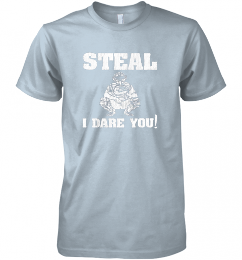 2ncy kids baseball catcher gift funny youth shirt steal i dare you33 premium guys tee 5 front light blue