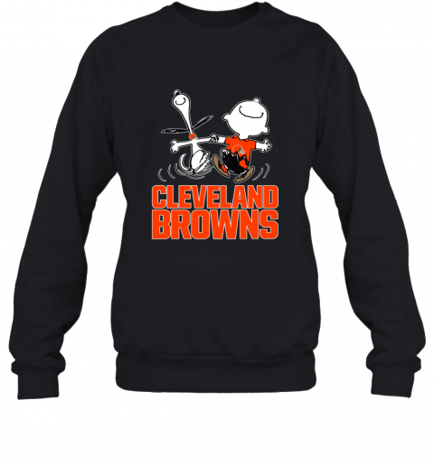 Snoopy And Charlie Brown Happy Cleveland Browns Sweatshirt