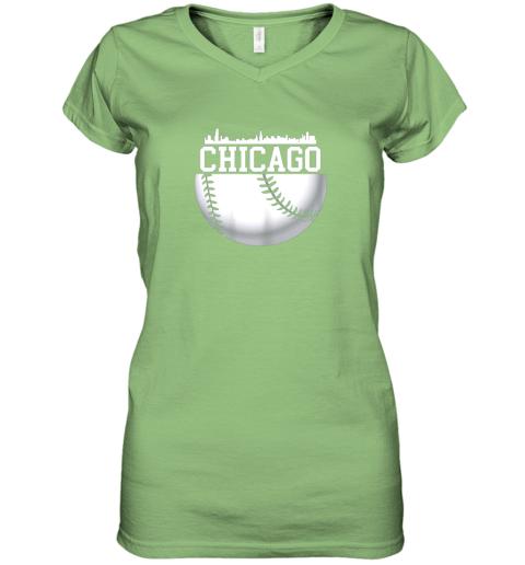 vsrp vintage downtown chicago shirt baseball retro illinois state women v neck t shirt 39 front lime