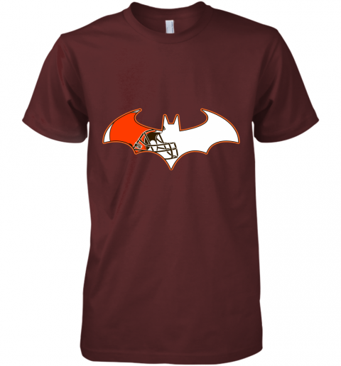 epgb we are the cleveland browns batman nfl mashup premium guys tee 5 front maroon
