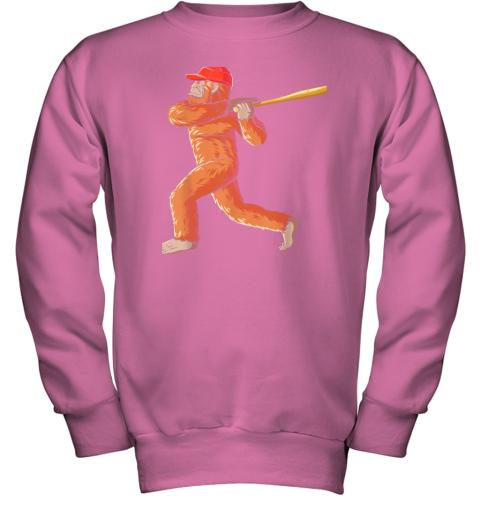 tv08 bigfoot baseball sasquatch playing baseball player youth sweatshirt 47 front safety pink