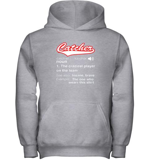qyuz softball baseball catcher shirtvintage funny definition youth hoodie 43 front sport grey