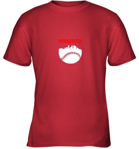x98r retro minnesota baseball minneapolis cityscape vintage shirt youth t shirt 26 front red